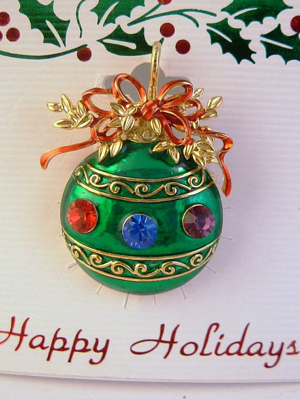 Green Christmas Ornament Pin Pendant, Red Blue Purple Austrian Crystals