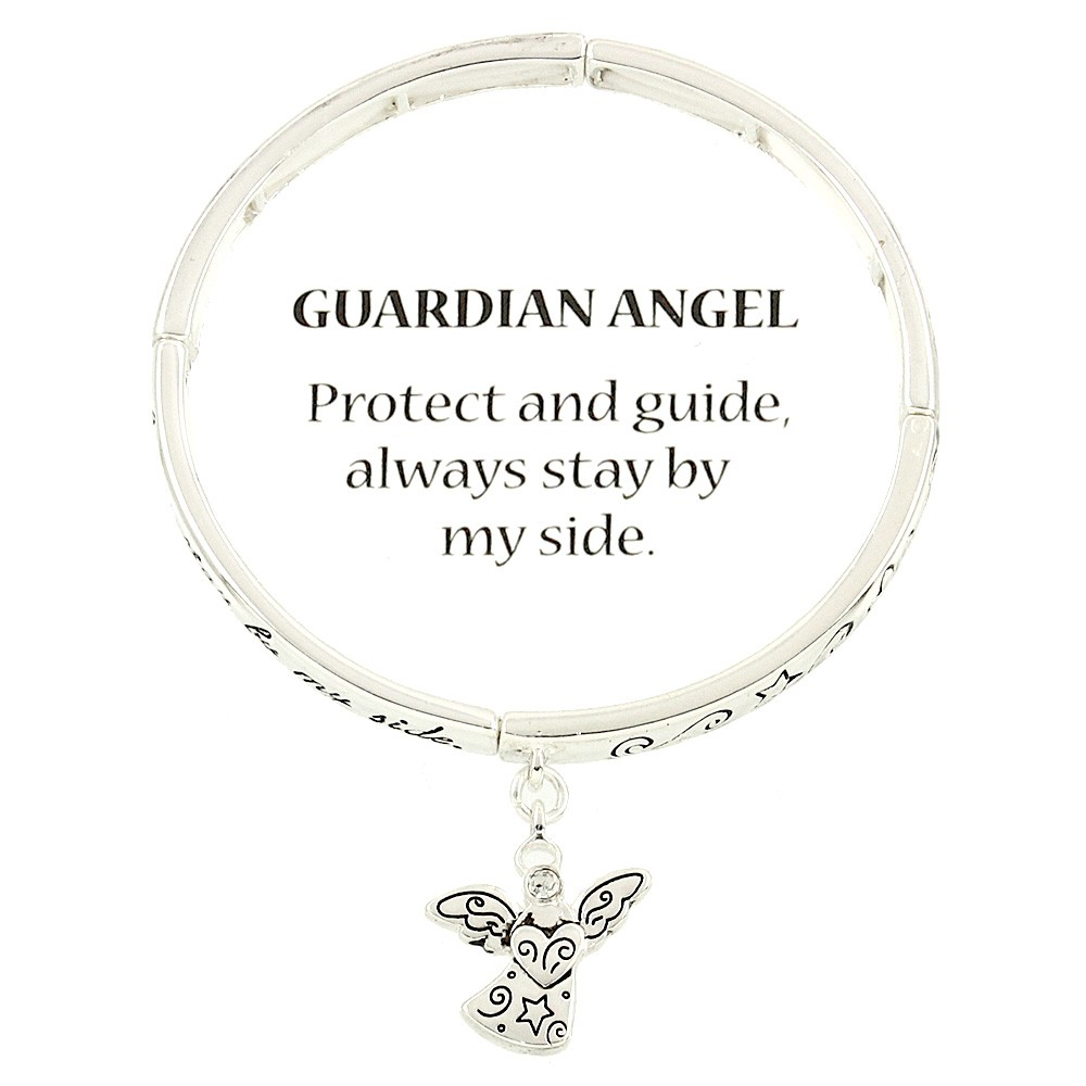 silver angel bracelet inspirational charm blessing message view quick p guardian