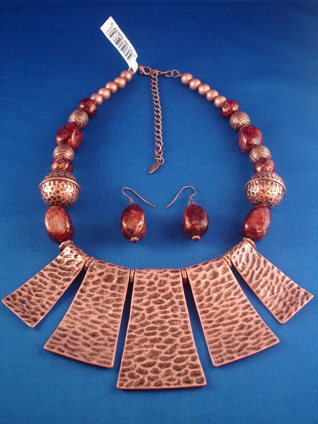 Hammered Style Bulky Copper Set Of Necklace Amp Earrings