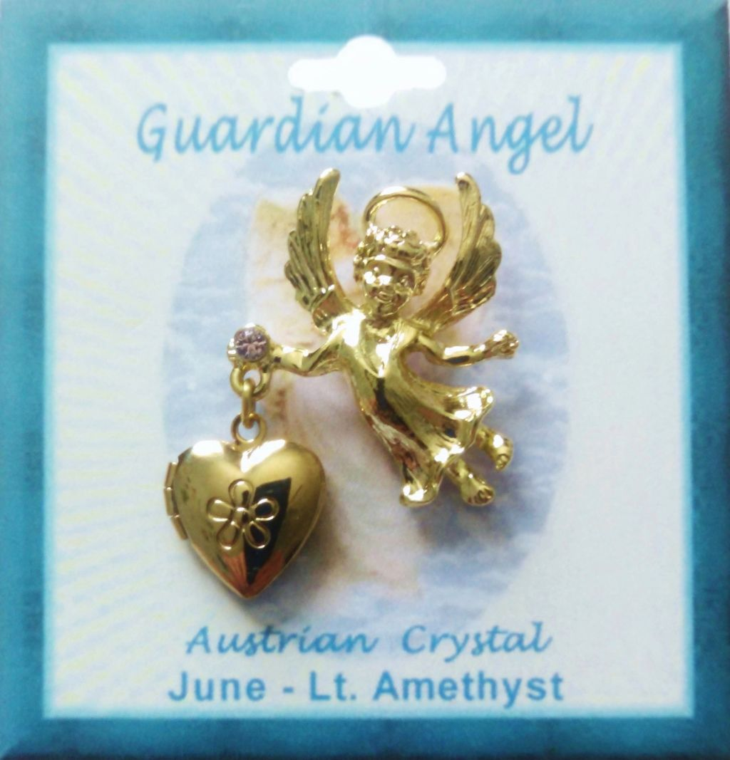 Heart Locket Gold Guardian Angel Pin June Birthstone-Alexandrite, Genuine Austrian Crystal