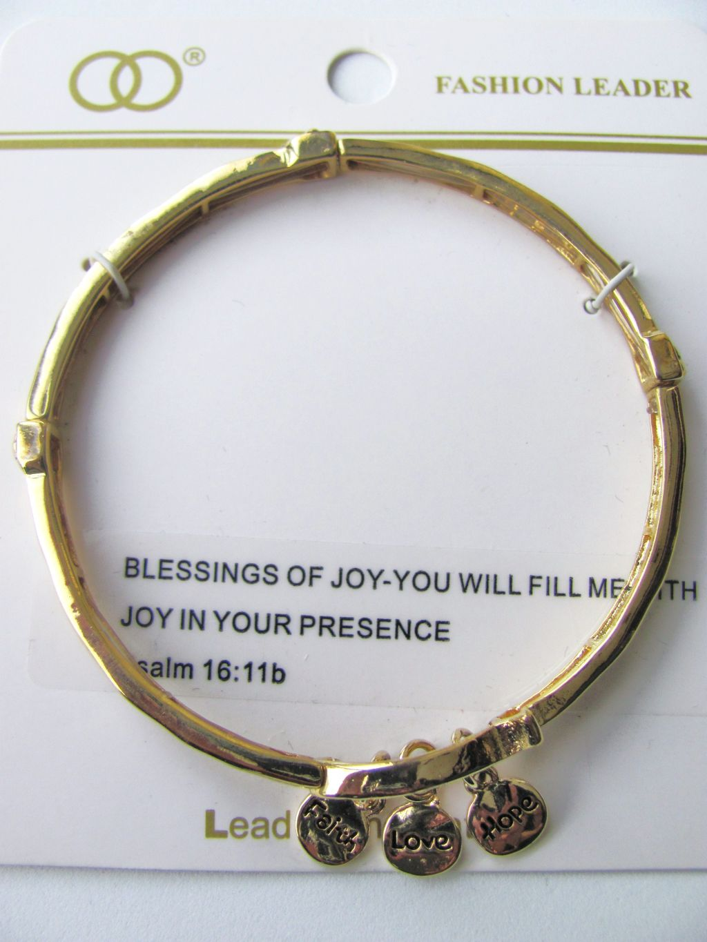 Inspirational Faith Love Hope Charm Stretching Bangle Gold Bracelet