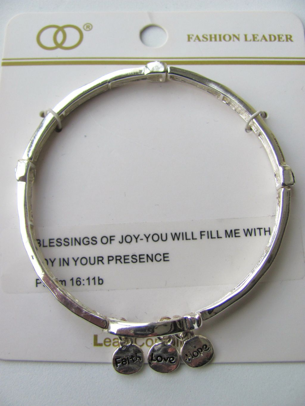 Inspirational Faith Love Hope Charm Stretching Bangle Silver Bracelet