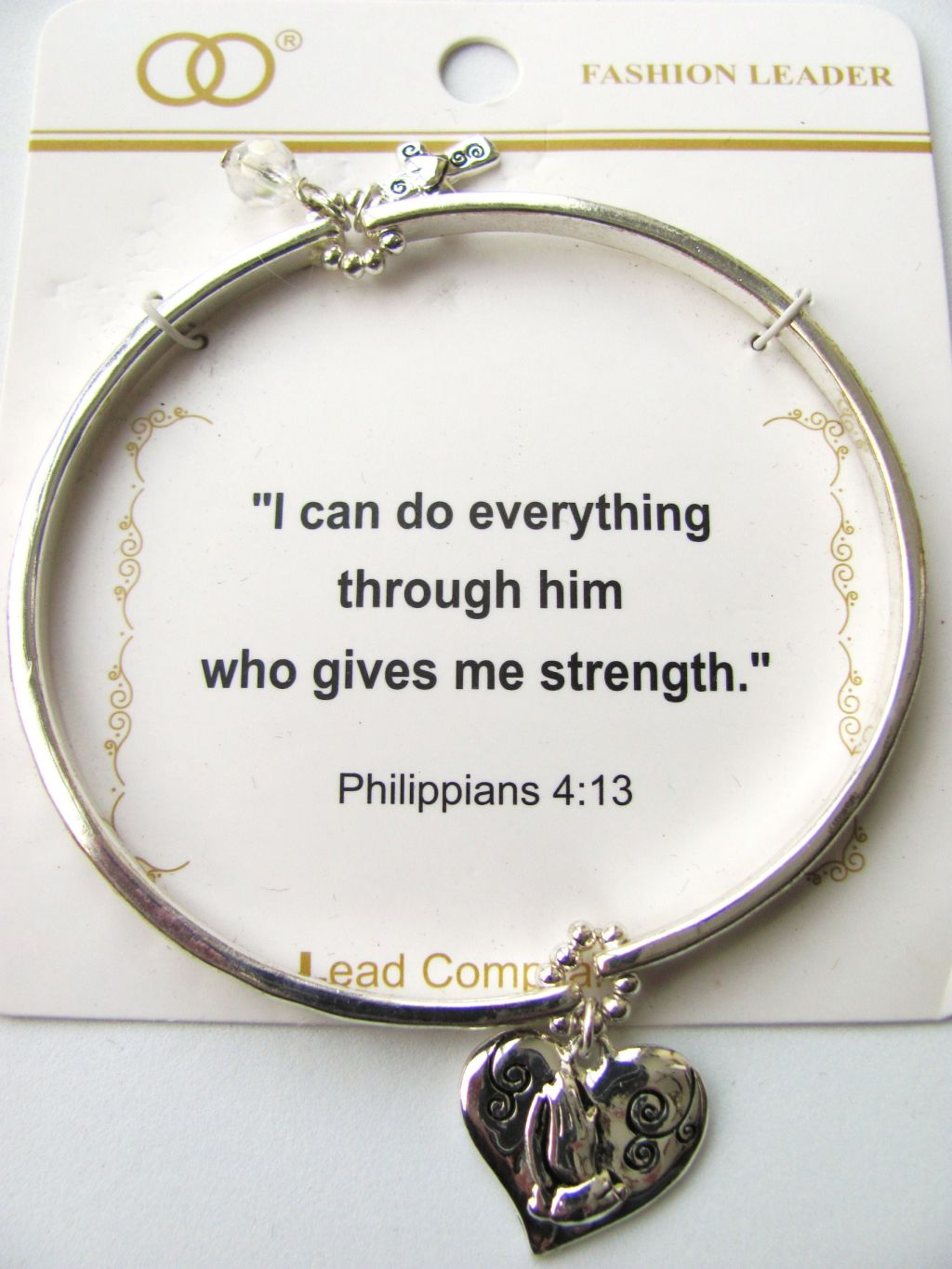 Inspirational Praying Hands Cross Charm Stretching Bangle Silver Bracelet