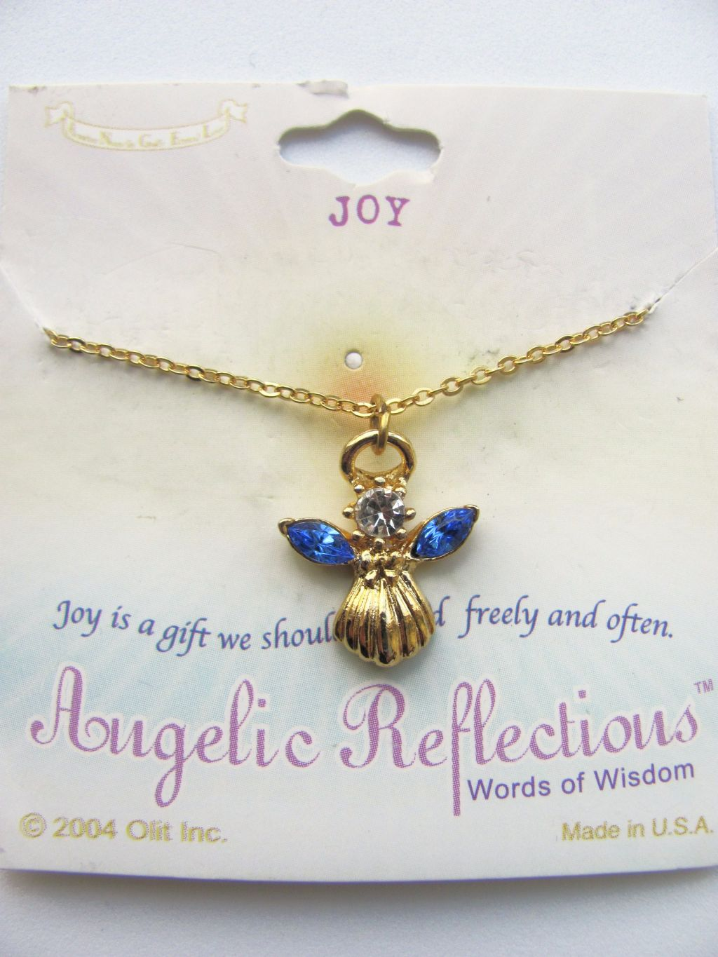Joy Inspirational Blue Sapphire Angel Pendant Necklace Gold Tone