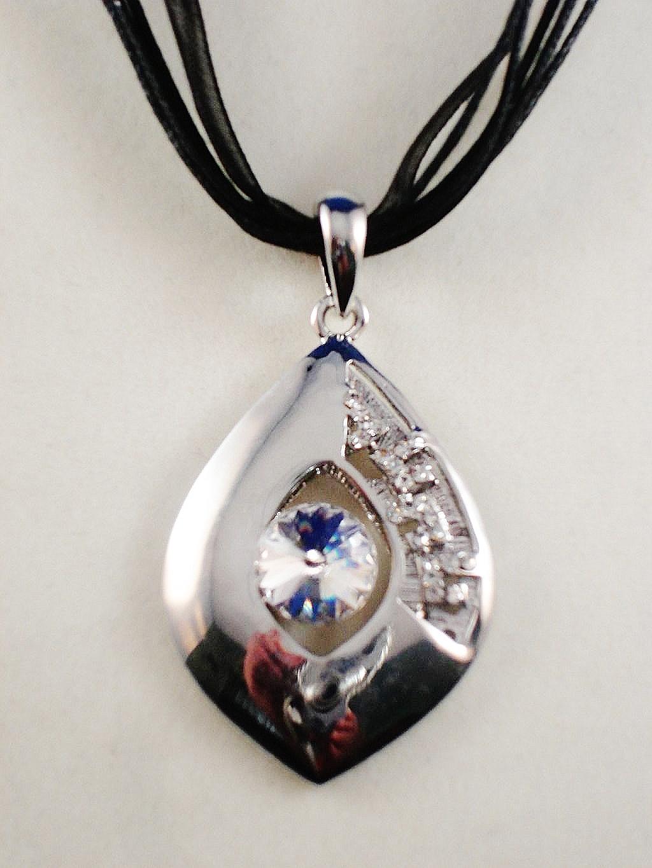 Large Crystal Chrome Pendant Necklace Summer Fashion