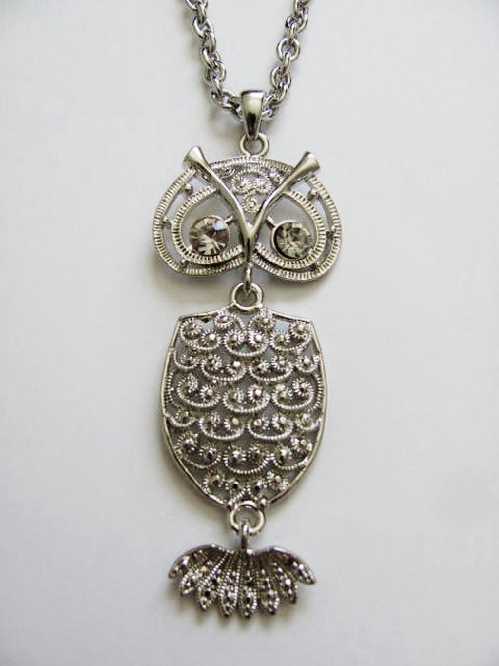 Large Silver Owl Pendant 32