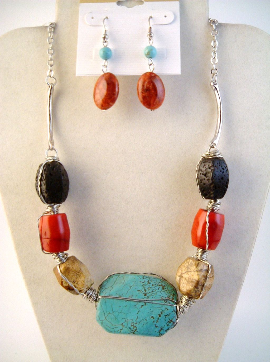 Large Turquoise Red Black Genuine Stones Necklace Earrings Jewelry Set