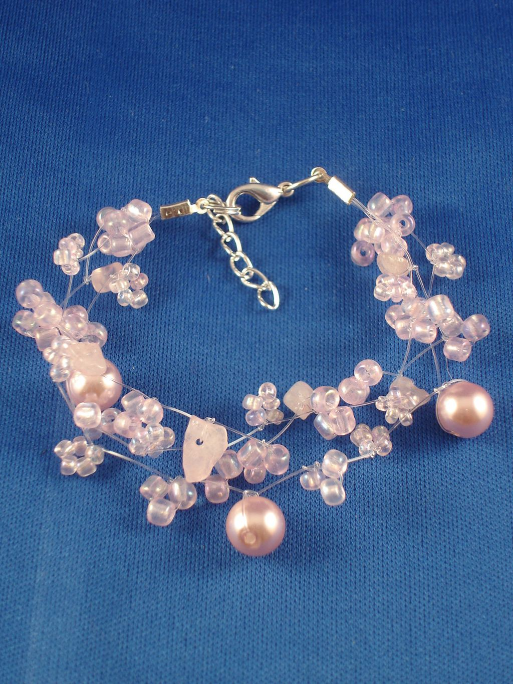 Light Pink Contemporary Bracelet, Artificial Pearls, Genuine Stones, Beads