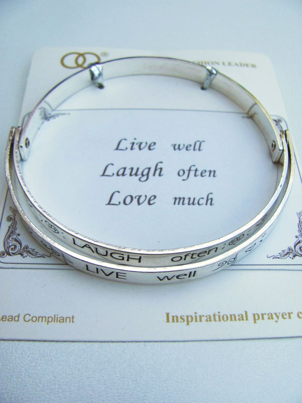 Live Laugh Love Inspirational Message Bangle Bracelet, Contemporary Style