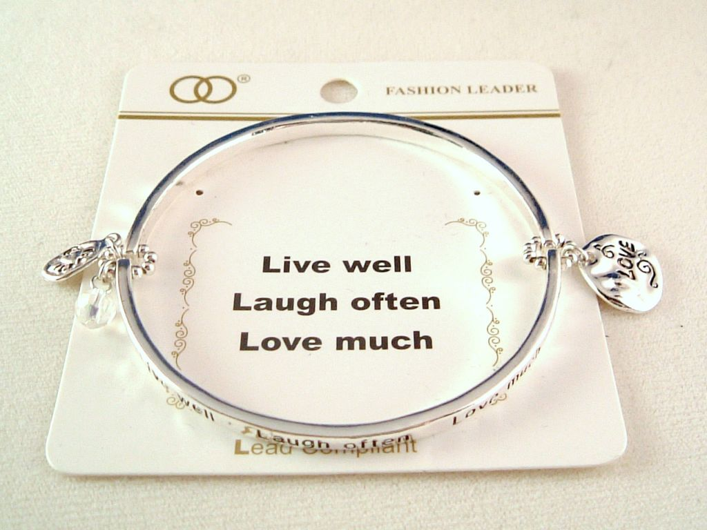 """Live Well, Laugh Often, Love Much"" Inspirational Stretching Bangle Bracelet, Love & Heart Charm, Silver Finish Metal, Anti-allergic Jewelry"