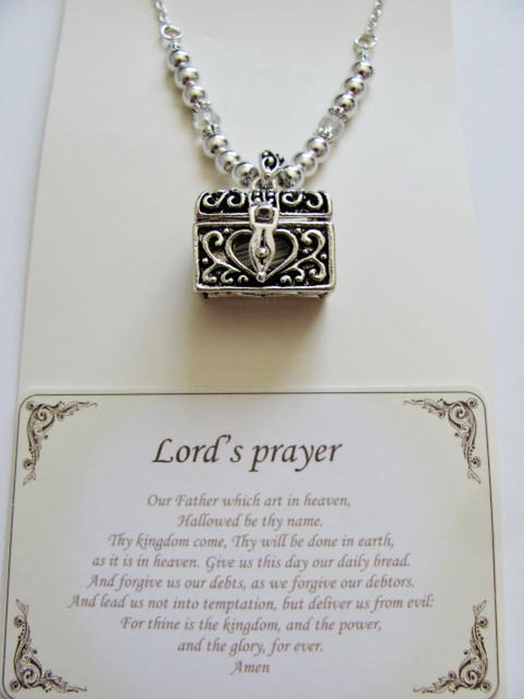 Lord's Prayer Chest Vintage Locket Necklace, Filigree Pendant w/ Inspirational Message
