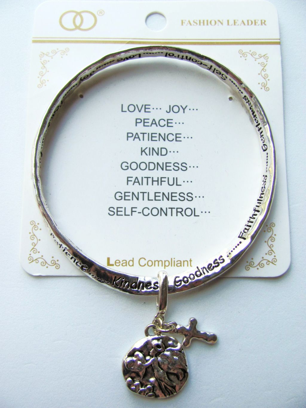 Love Joy Peace Charm Inspirational Twisted Bangle Bracelet w/ Engraving Silver Plated