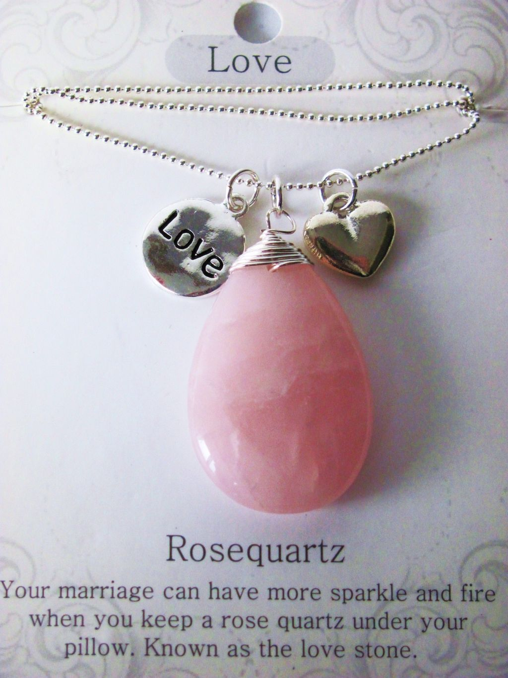 Love Stone Genuine Rose Quartz Tear Drop Pendant Necklace with Charms