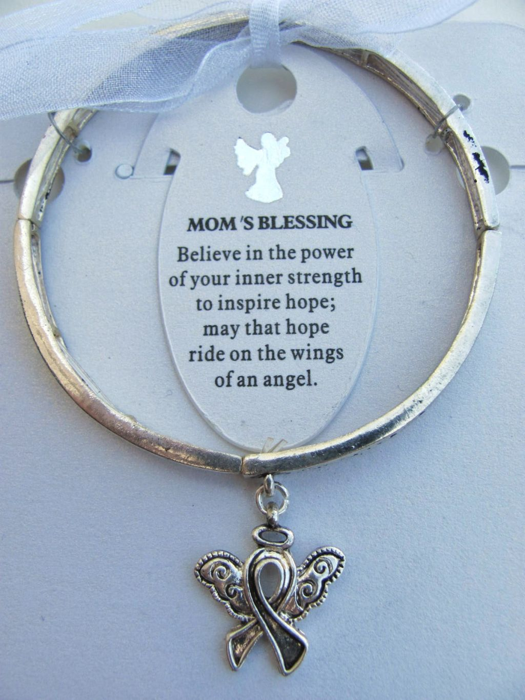 Mom's Blessing Inspirational Message Ribbon Wings Charm Bracelet Silver