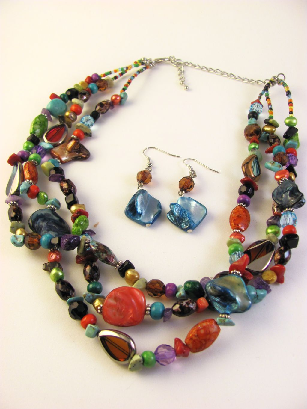Multi-Layers Summer Colors Necklace Earrings, Turquoise Shells Beads