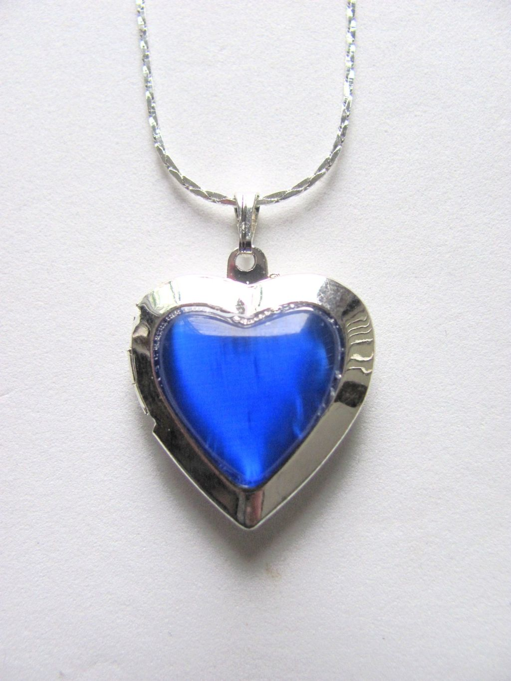 Navy Blue Heart Locket Photo Pendant Necklace, Silver Tone