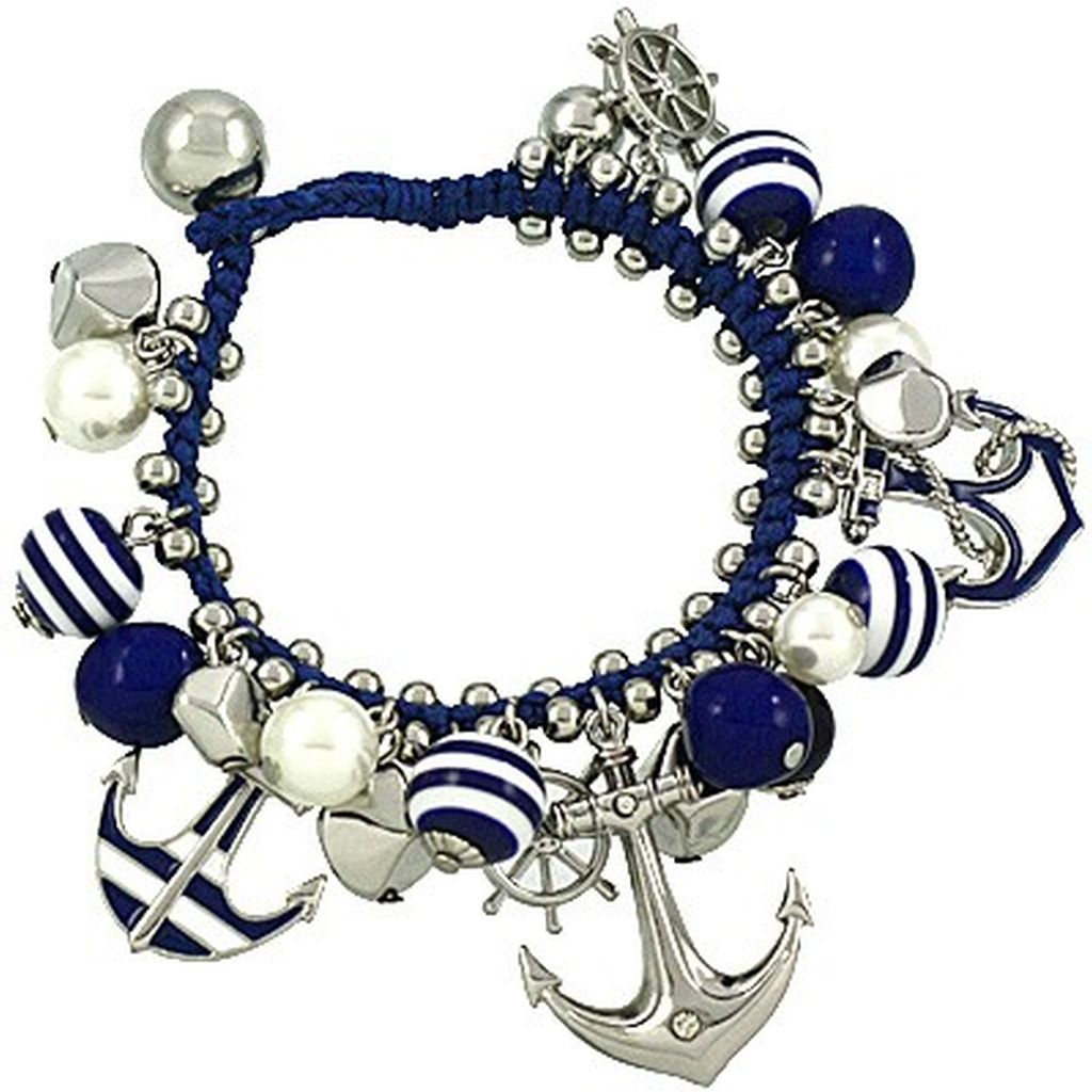 Blue Charm Bracelet: Navy Blue/Silver Nautical Anchor & Wheel Charm Bracelet