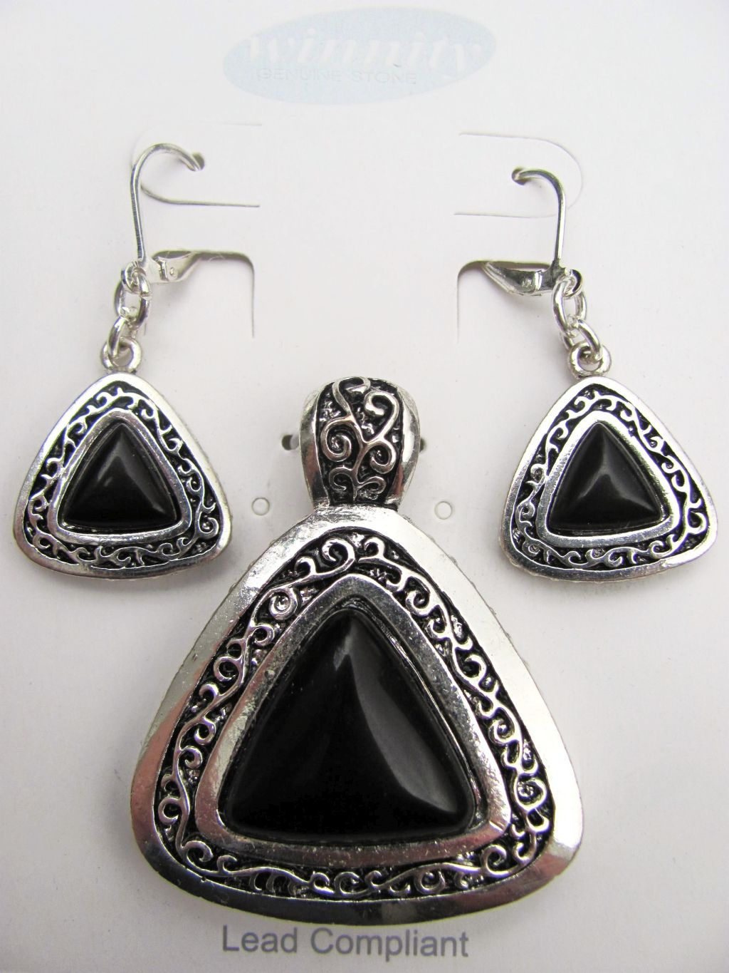 Onyx Vintage Triangle Pendant Earrings Set, Genuine Stone