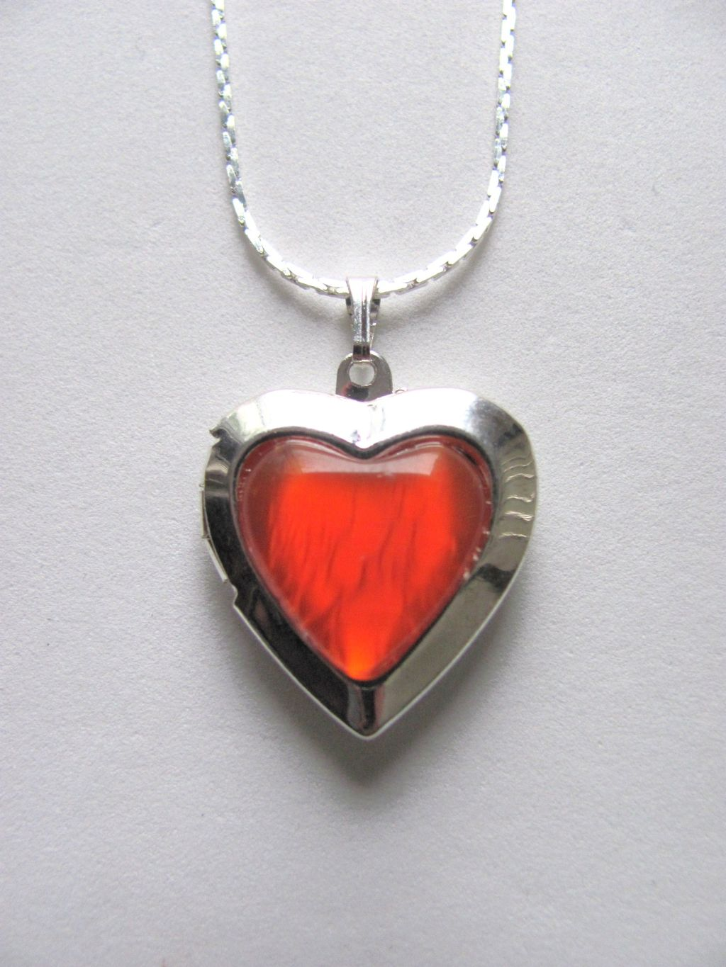Orange Opal Heart Locket Photo Pendant Necklace, Silver Tone