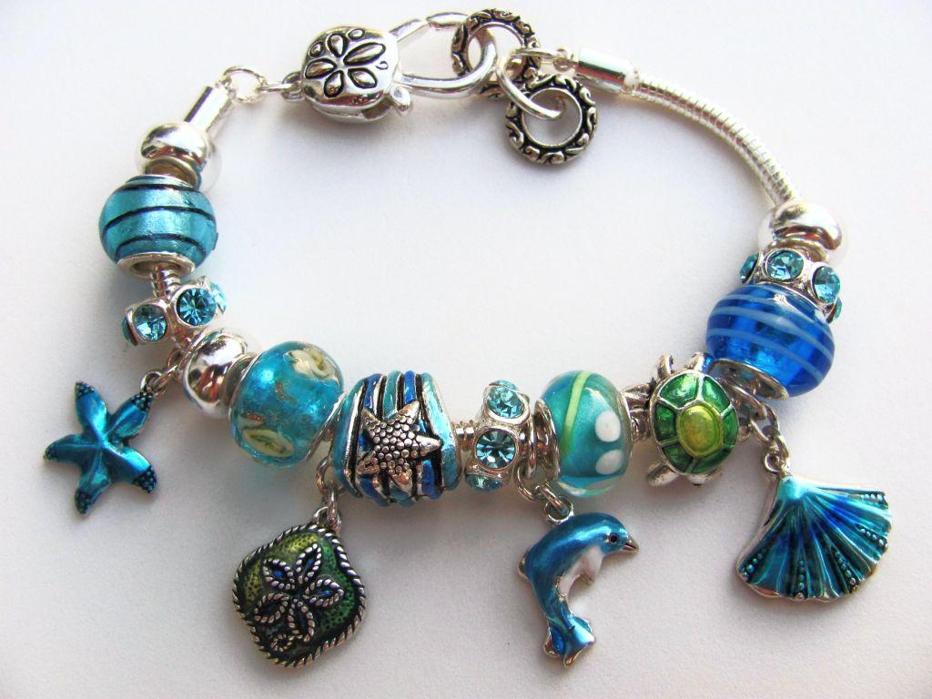 pandora inspired blue nautical charm bracelet dolphin