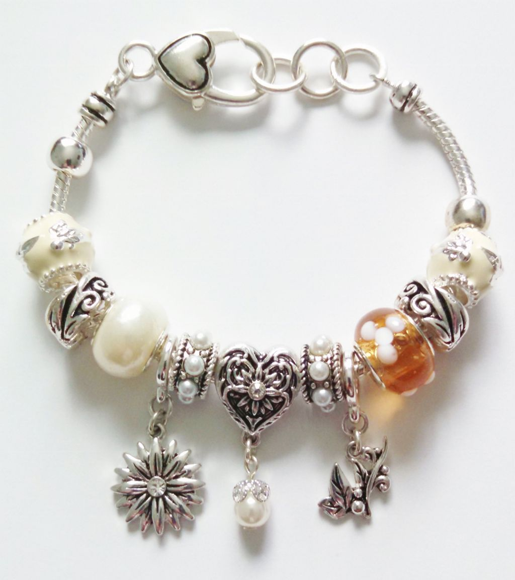 Pandora Inspired Flower Heart Leaves Charm Bracelet, Vintage Style