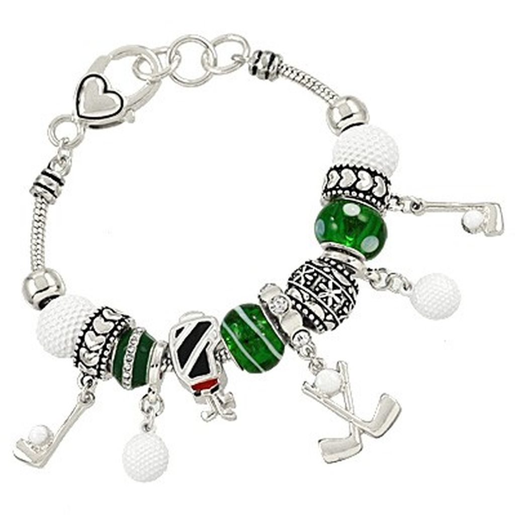 Pandora Inspired Golf Sport Theme Charm Bracelet, Ball Club Bag