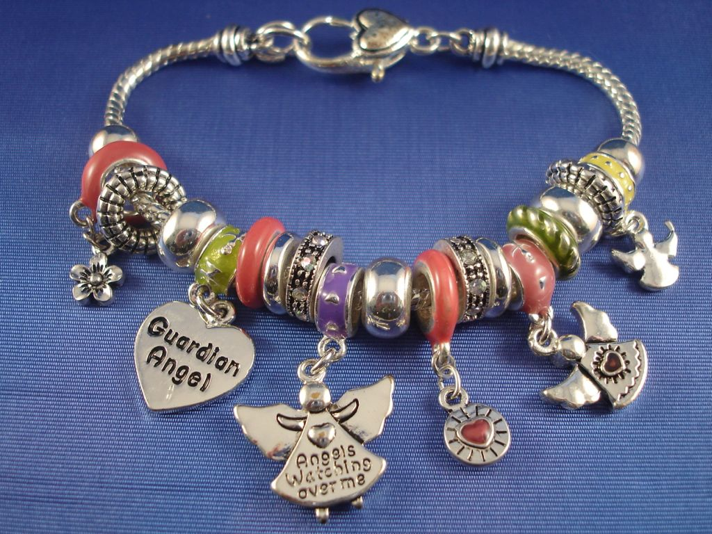Pandora Inspired Guardian Angel Charm Bracelet Heart