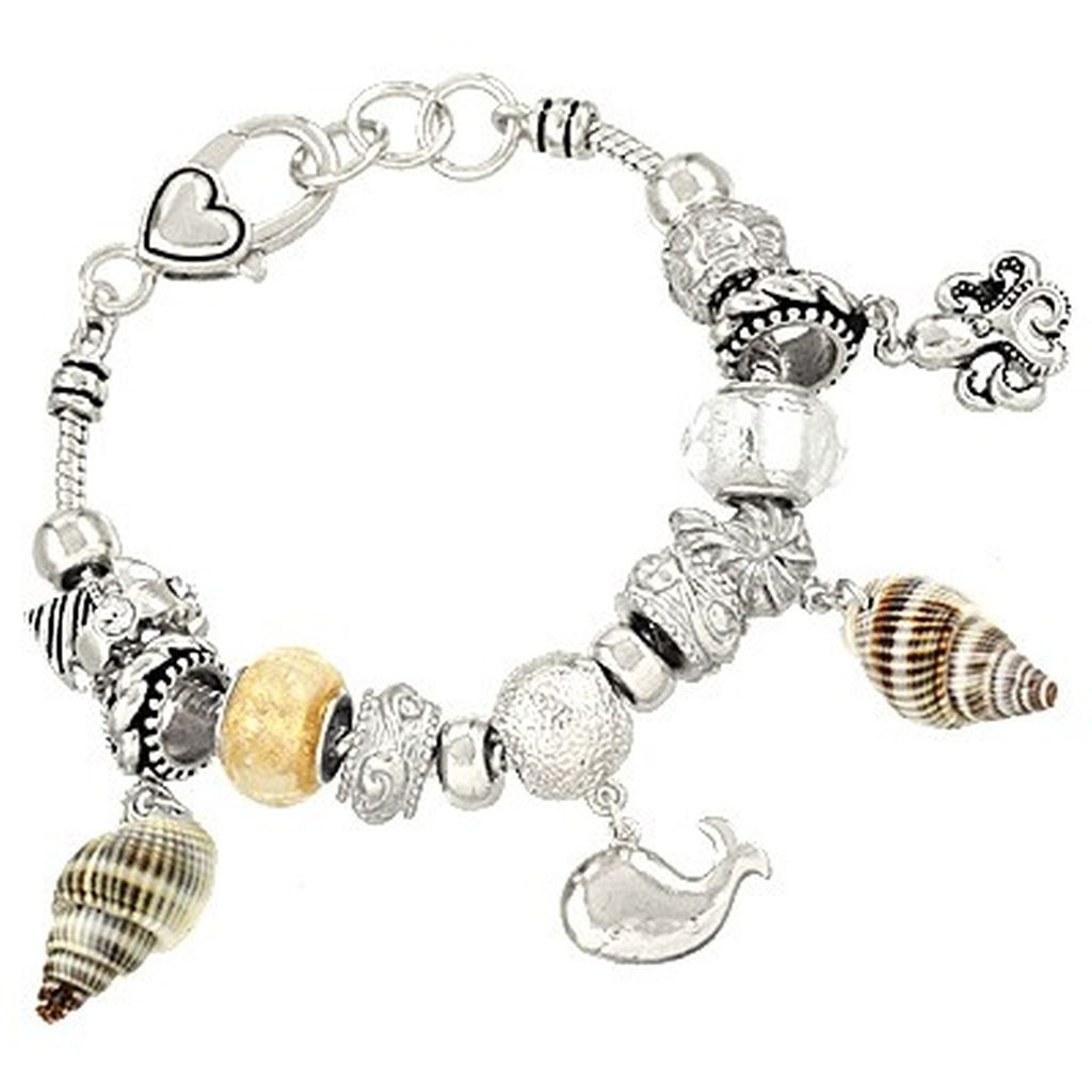 Pandora Inspired Sea Life Charm Bracelet, Dolphin Octopus Shell Lighthouse