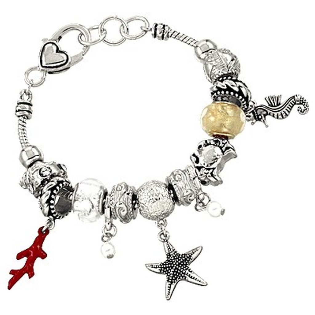 Pandora Inspired Sea Life Charm Bracelet, Seahorse Star Coral Crab