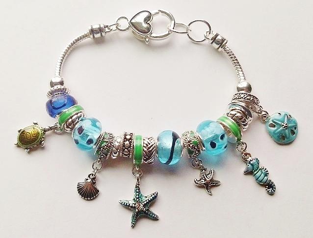 fb4a0a93979 Pandora Inspired Sea Life Charm Bracelet Seahorse Turtle Star Shell, Blue  Color