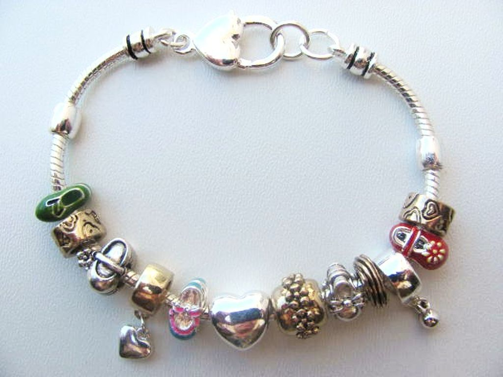 Pandora Inspired Small Fashion Shoes Charm Bead Bracelet Two Tone
