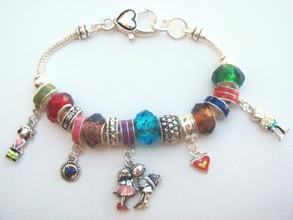 Pandora Inspired First Love Boy Girl Sweet Hearts Charm Bracelet