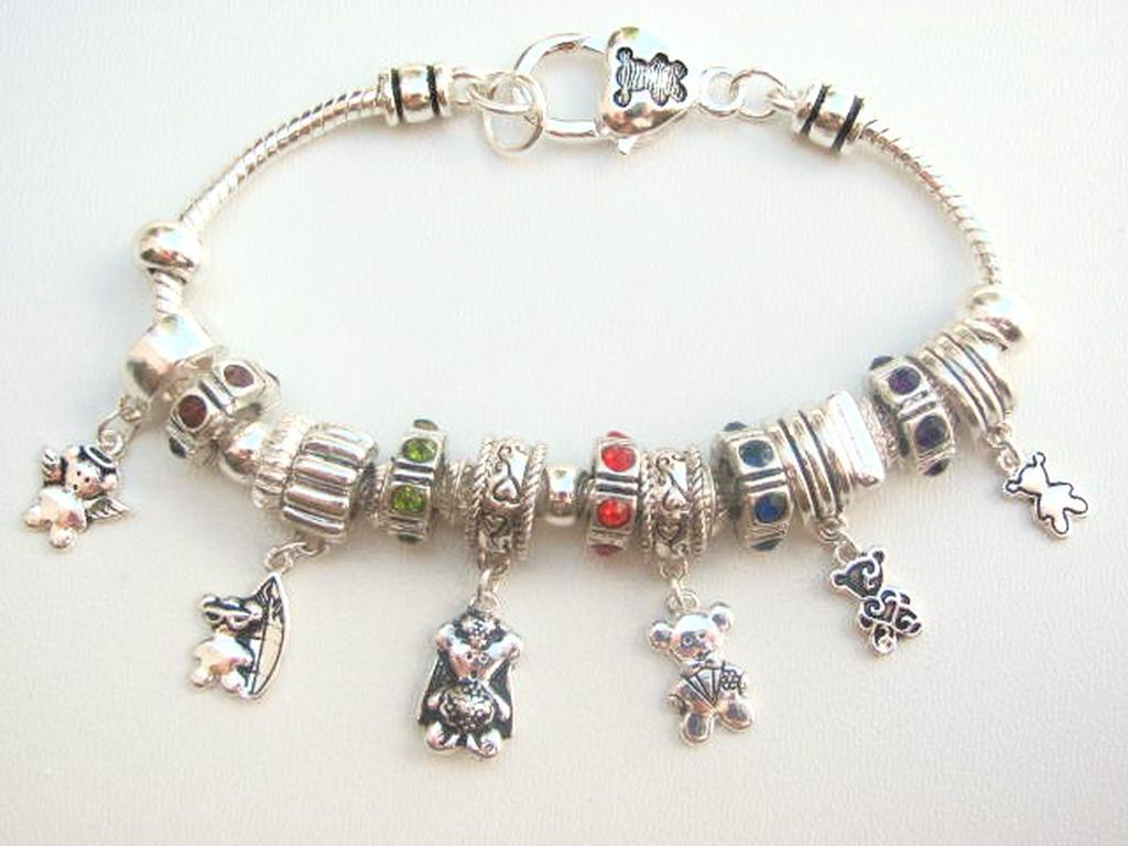 Pandora Inspired Teddy Bear Angel Charm Bead Bracelet