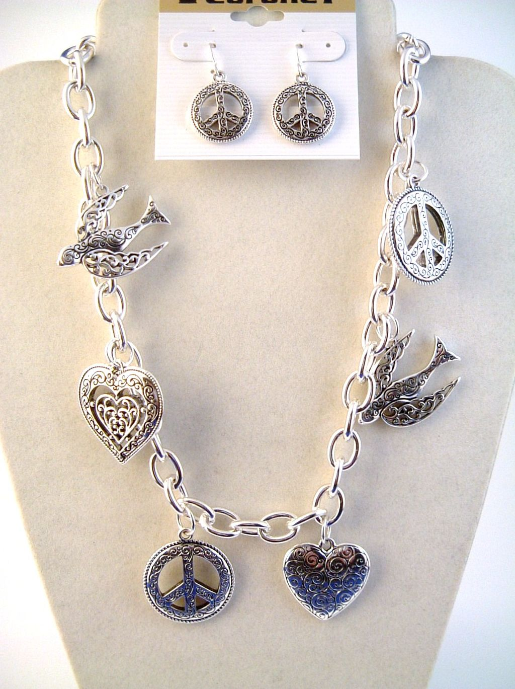 Peace Dove Heart Silver Charm Necklace Bracelet Earrings Jewelry Set