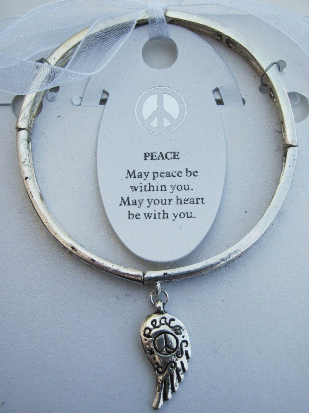Peace Inspirational Message Wing Charm Bracelet Silver