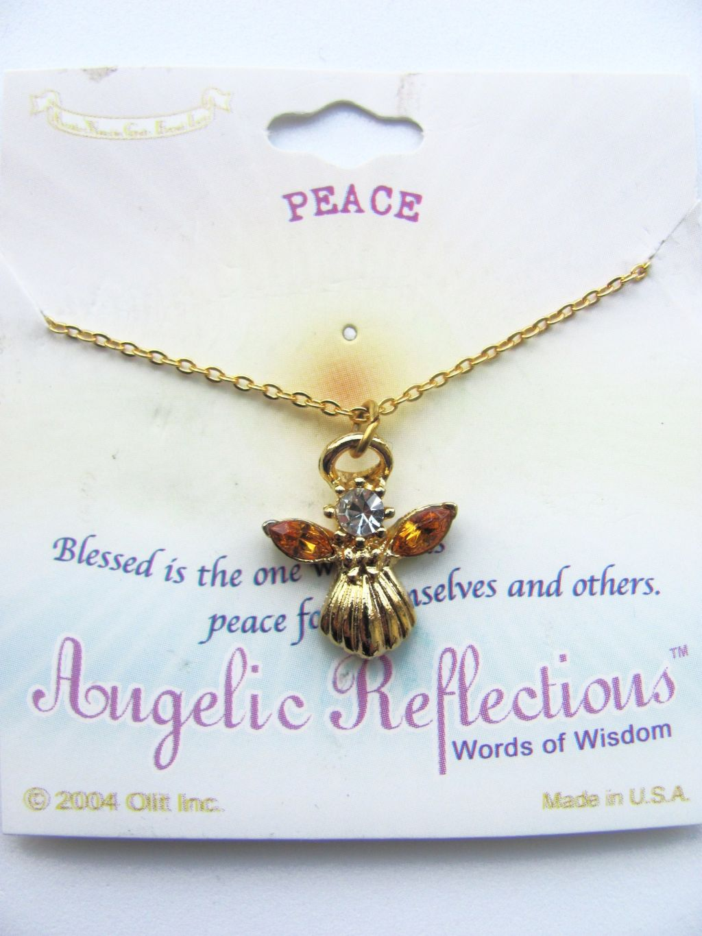Peace Inspirational Topaz Angel Pendant Necklace Gold Tone