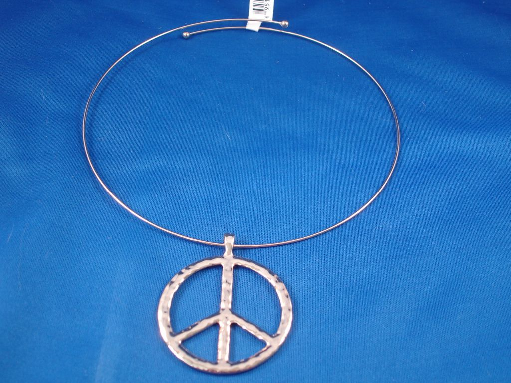 Peace Metal Necklace, Large Pendant, Gold Color, Fashion Jewelry