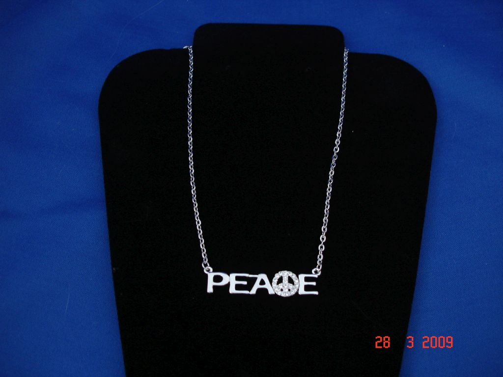 Peace Necklace, Sterling Silver, Zircon Stones, Fashion Jewelry