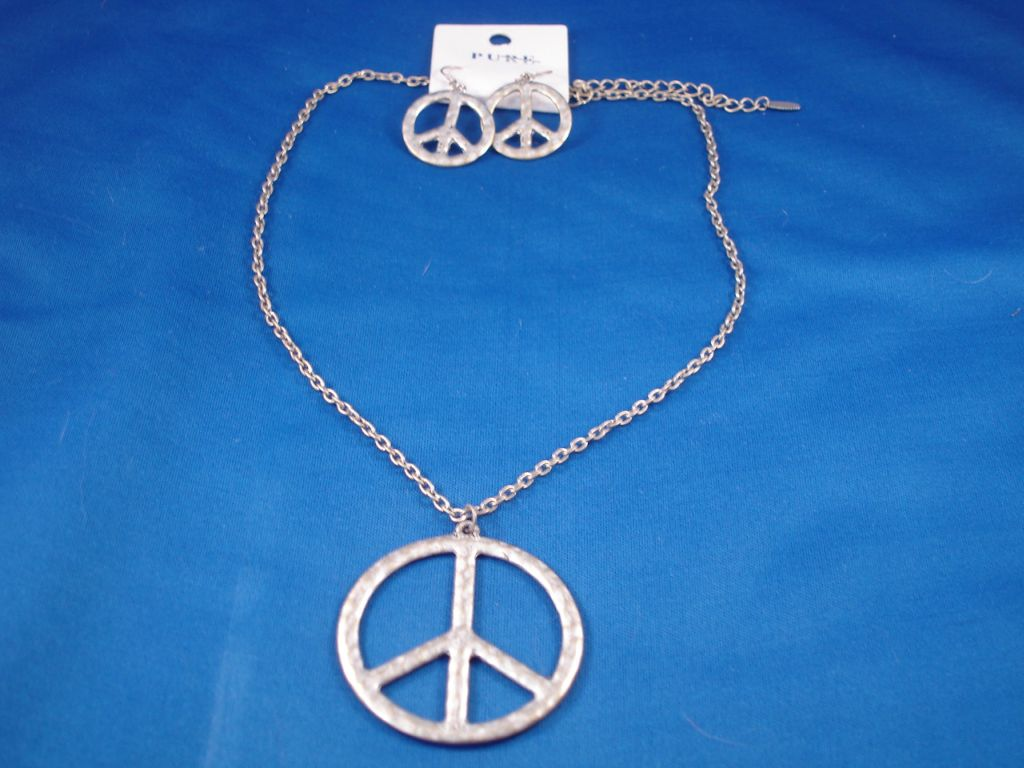 Peace Set of Necklace and Earrings, Bronze Color, Fashion Jewelry