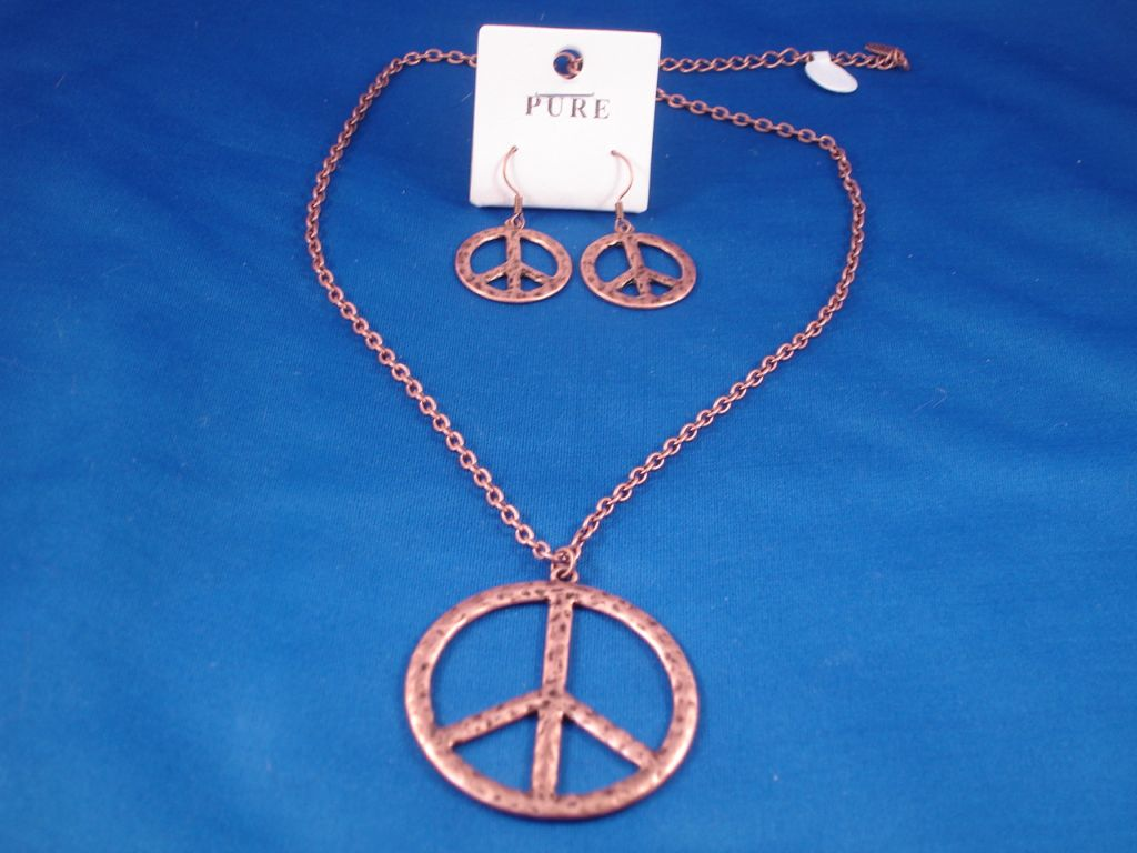 Peace Set of Necklace and Earrings, Cooper Color, Fashion Jewelry