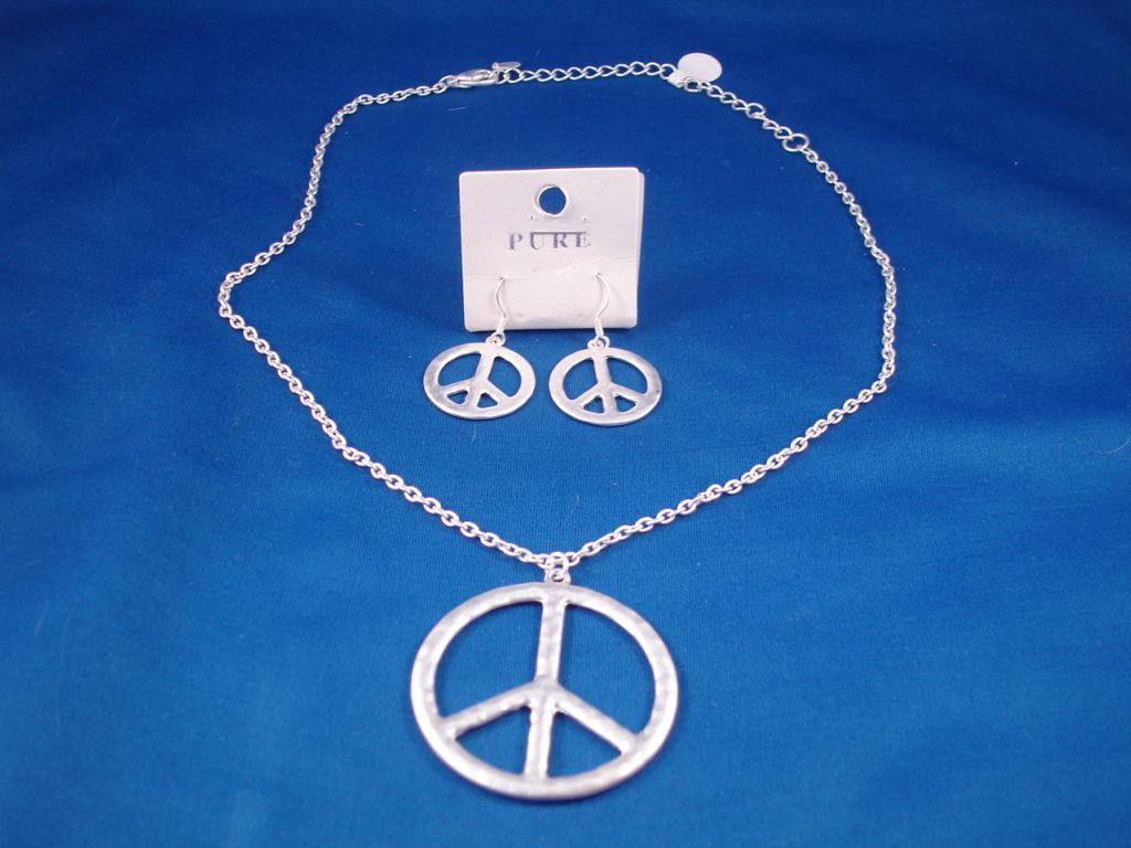 Peace Set of Necklace and Earrings, Silver Color, Fashion Jewelry