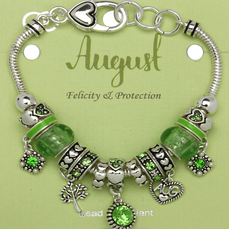 Peridot August Birthstone Charm Bracelet Murano Beads Pandora