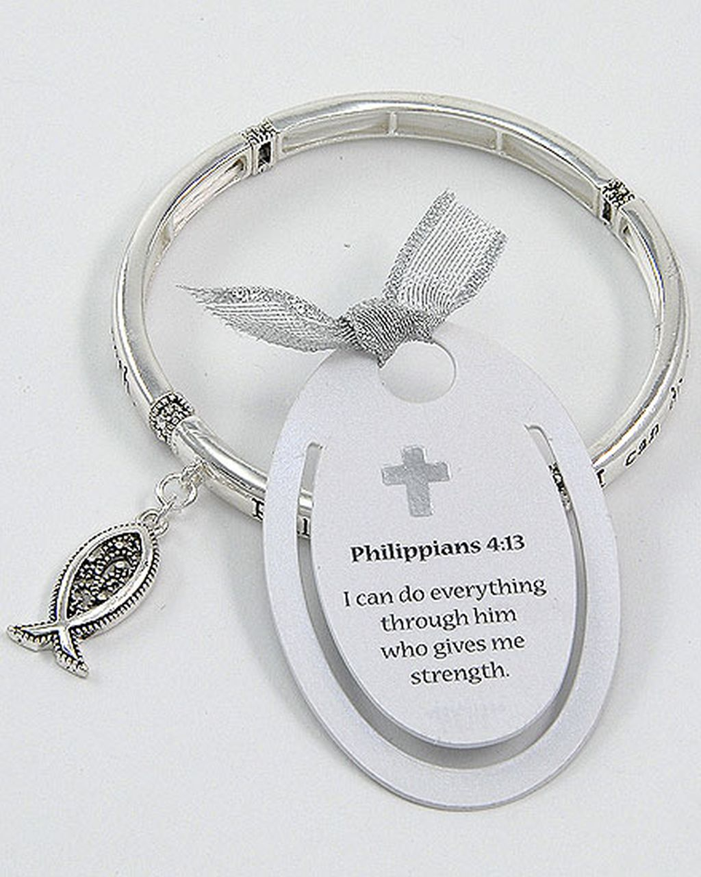 Philippians 4:13 Fish Charm Bracelet, Inspirational Message Silver Bangle