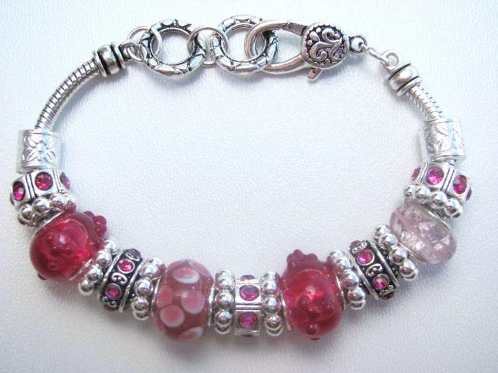 Pink Fuchsia Murano Glass Bead Bracelet Pandora Inspired