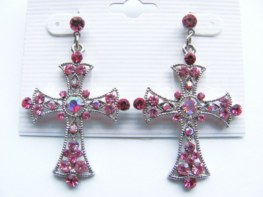 Pink Zircon Cross Post Earrings Genuine CZ Stones
