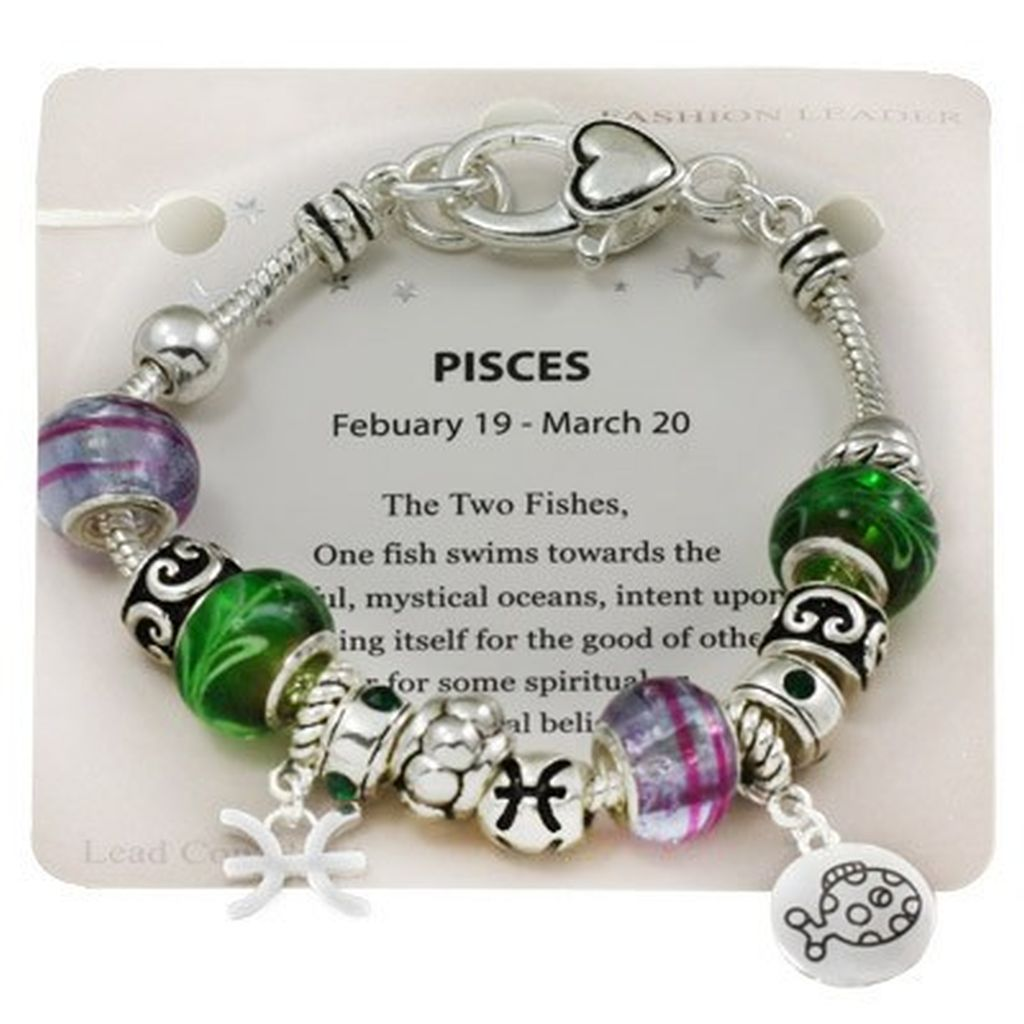 Pisces Zodiac Sign Charm Bracelet, Pandora Inspired Beads