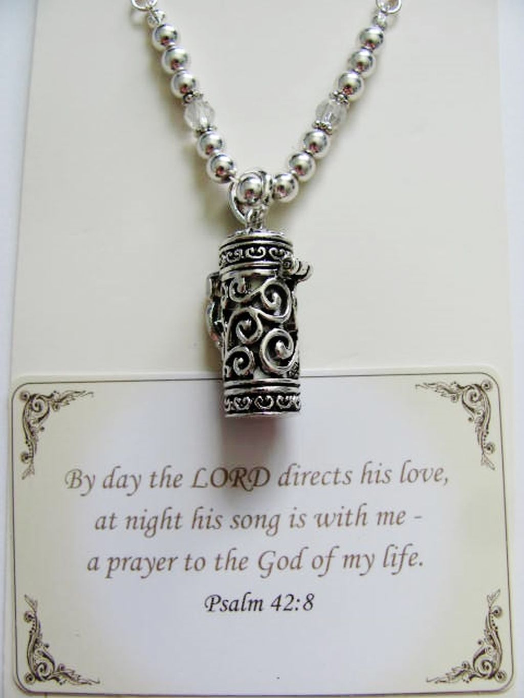 Psalm 42:8 Prayer Box Vintage Locket Necklace, Filigree Pendant w/ Inspirational Message