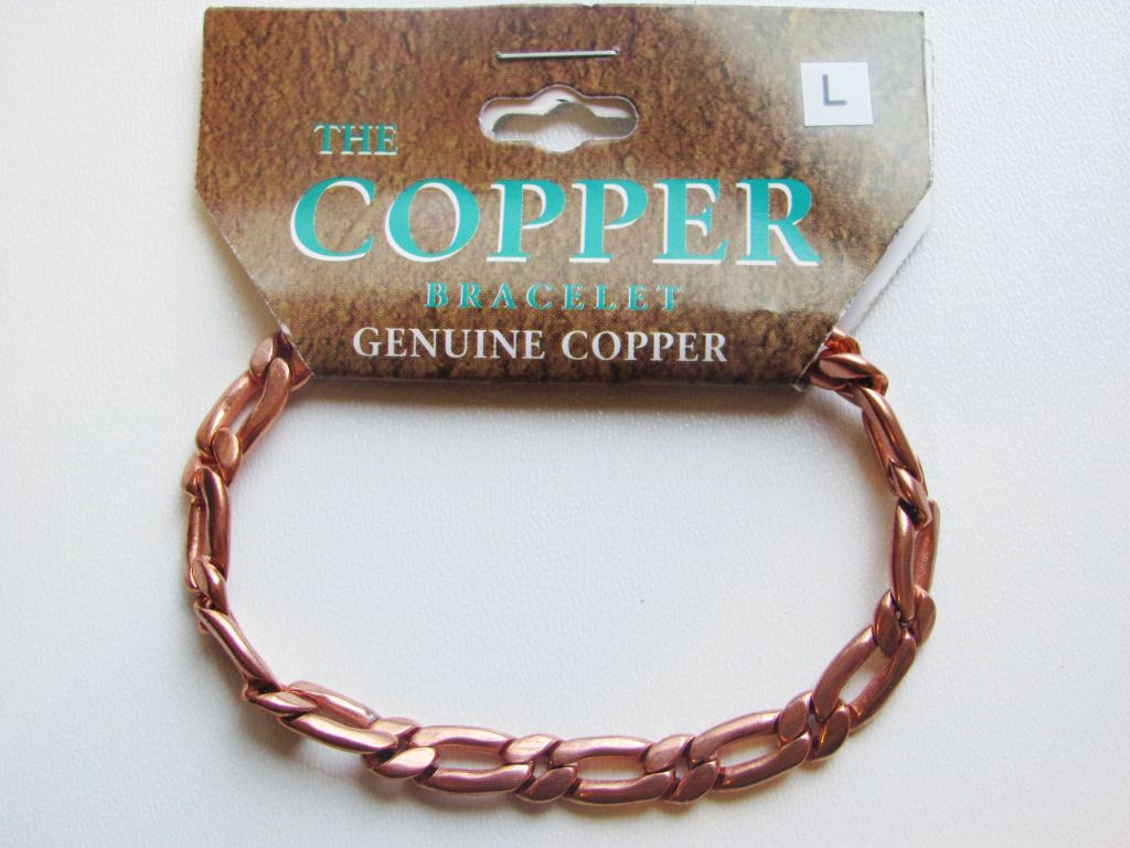Pure Genuine Copper Link Bracelet Men's Unisex - Style 1