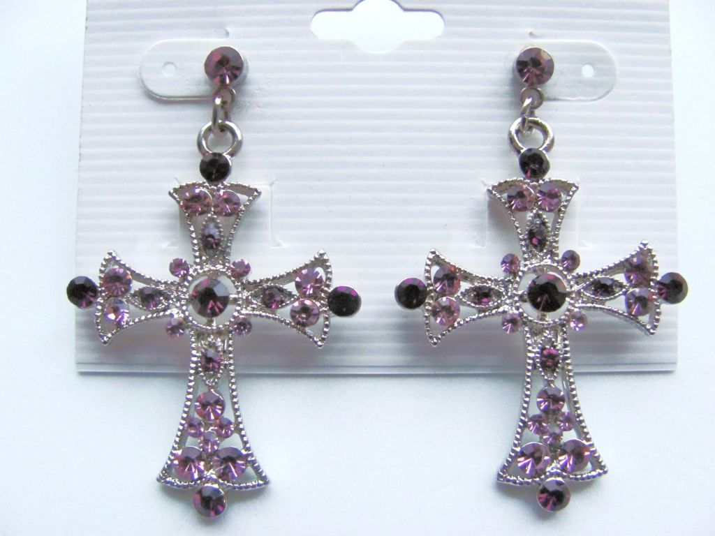 Purple Amethyst Cross Post Earrings Genuine CZ Stones