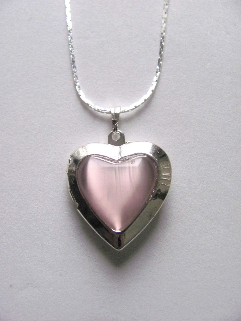 Purple Amethyst Heart Locket Photo Pendant Necklace, Silver Tone